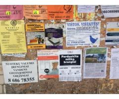 Lauko reklama seniūnijų skelbimų lentose